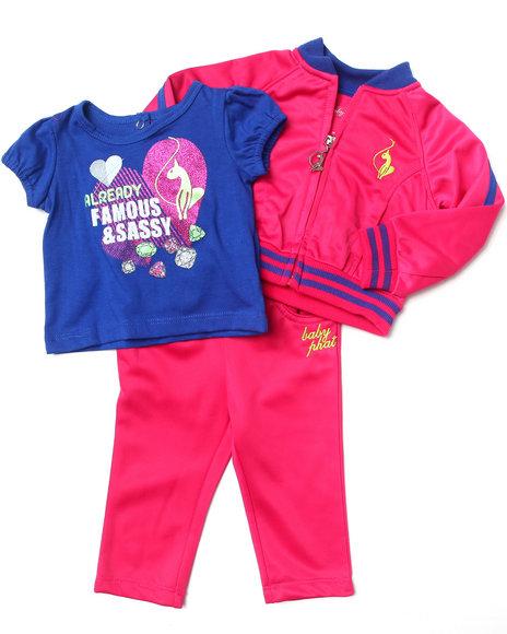 Baby Phat Girls Pink 3 Pc Tricot Set (Newborn)