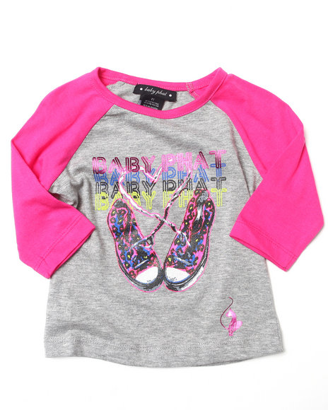 Baby Phat - Girls Pink Sneakers Raglan Top (2T-4T)