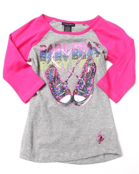 Baby Phat - Girls Light Grey Sneakers Raglan Top (7-16)