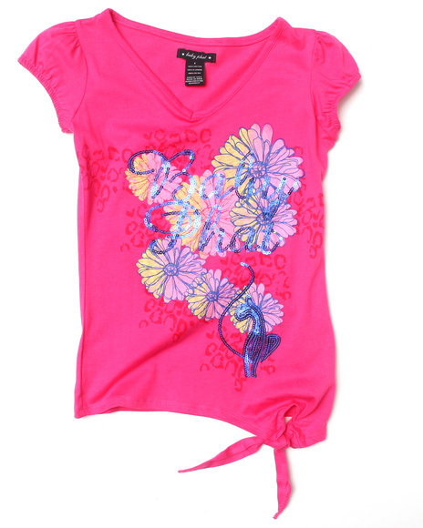 Baby Phat Girls Pink Floral Side Tie Tee (7-16)