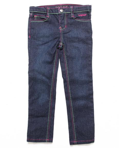 Baby Phat - Girls Dark Wash Colored Stitch Jeans (4-6X)