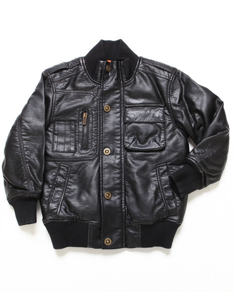 Sean John Boys Black Faux Leather Bomber Jacket (8-20)