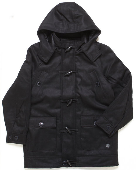 Arcade Styles - Boys Black Late Nighter Toggle Jacket (8-20)
