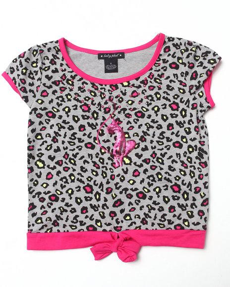 Baby Phat Girls Grey Animal Tie Front Top (7-16)