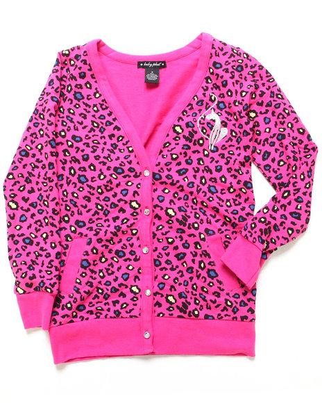 Baby Phat - Girls Pink Animal Print Cardigan (7-16)