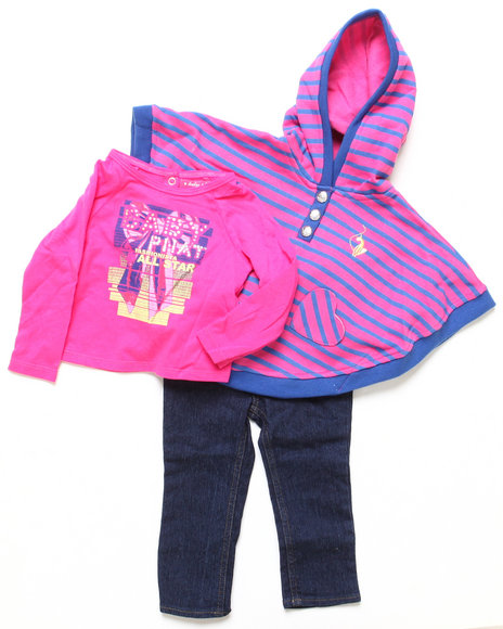 Baby Phat Girls Pink 3 Pc Striped Cape Set (Infant)