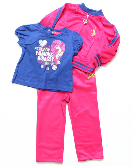 Baby Phat - Girls Pink 3 Pc Tricot Set (Infant)