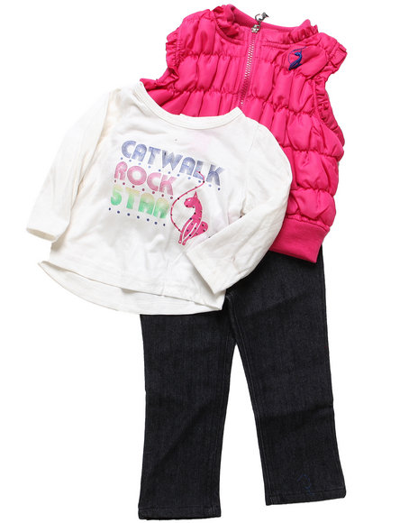 Baby Phat Girls Pink 3 Pc Puffer Vest Set (Infant)