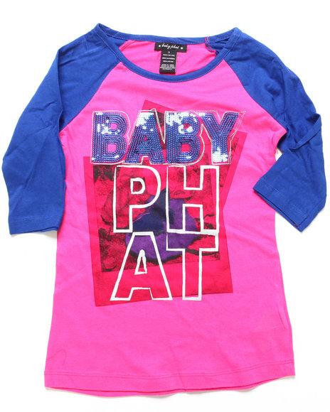 Baby Phat - Girls Pink Color Blocked Raglan Logo Top (7-16)