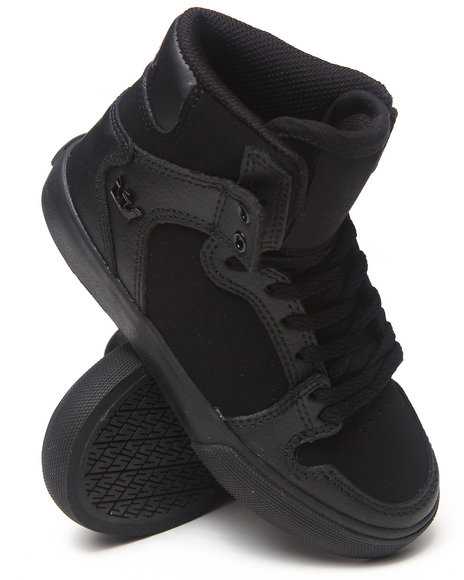 Supra - Boys Black Vaider Black Leather Sneakers (Youth)