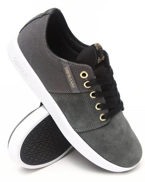 Supra - Men Grey Stacks Grey Suede/Black Canvas Sneakers