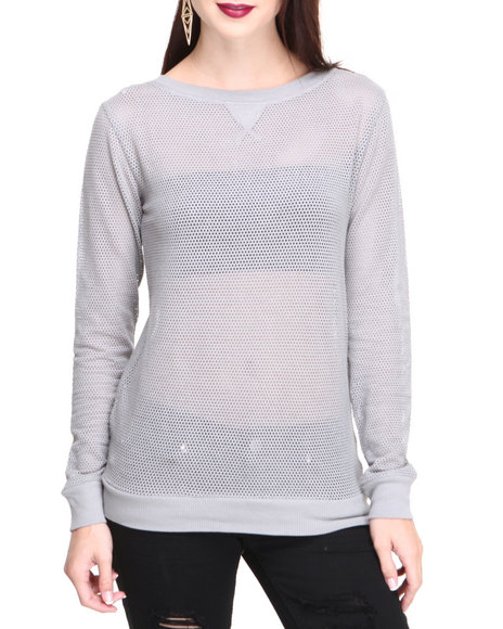 Basic Essentials - Women Silver Football Mesh Knit Pullover
