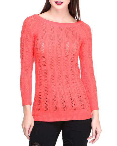 Fashion Lab - Women Pink Country Side Knit Pullover