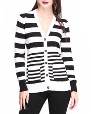 Sweaters - Stripe Cardigan W/buttons