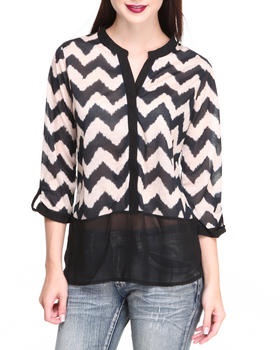Almost Famous - Knit Animal Print Top Chiffon Hem