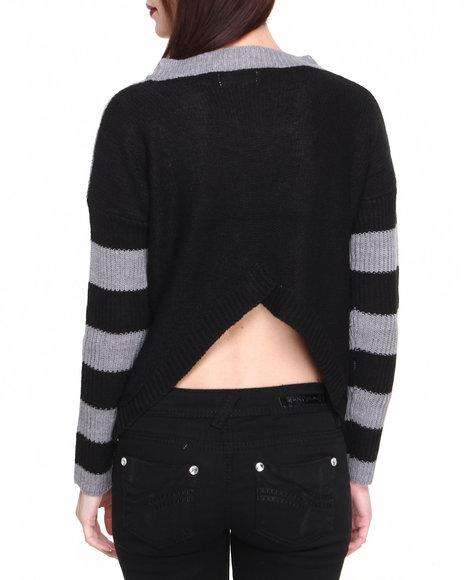 Fashion Lab - Women Grey Sereena Knit Pullover W/V Neck Stripes