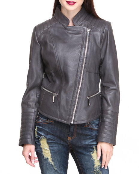 Kenneth Cole Charcoal Fabulosity Zip Trim Lamb Leather Jacket