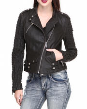 DRJ Leather Shoppe - Smocked Sleeves Zip Trim Moto Leather Jacket