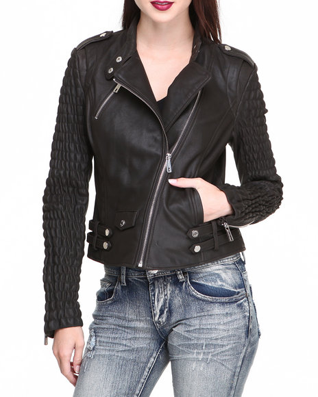 Kenneth Cole - Women Black Smocked Sleeves Zip Trim Moto Leather Jacket