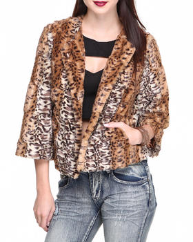 Fashion Lab - Faux Fur Leopard Print Jacket
