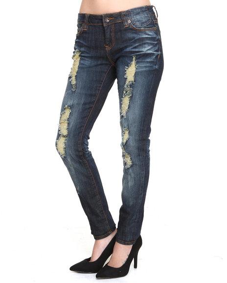 Rocawear - Women Dark Wash Roc Skinny Rip Jean