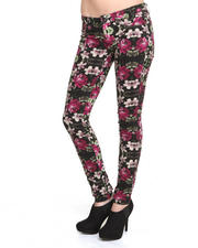 Women - Railed Floral Print Jeans