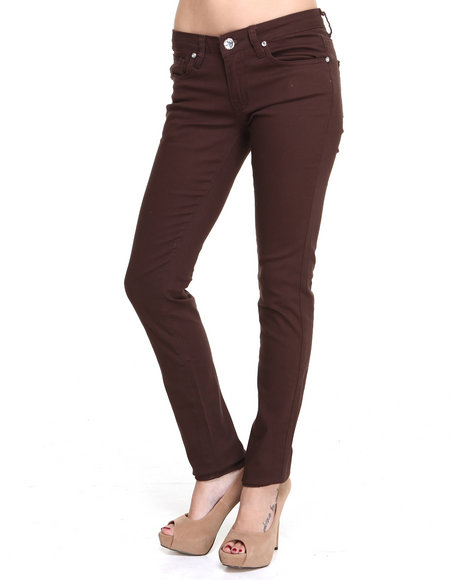 Basic Essentials - Women Brown Skinny Jean With Chrome Rivets