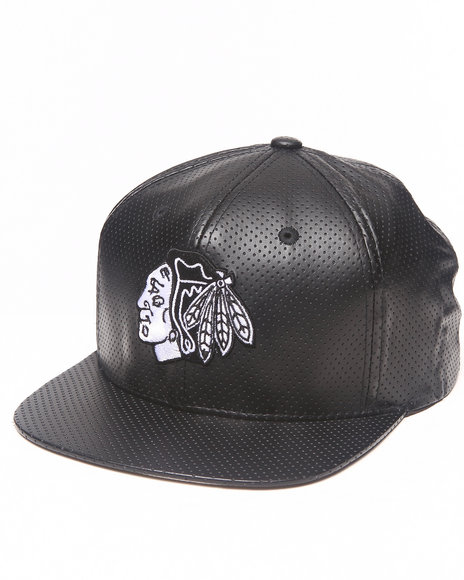 American Needle Men Chicago Blackhawks Perforated Faux Leather Black