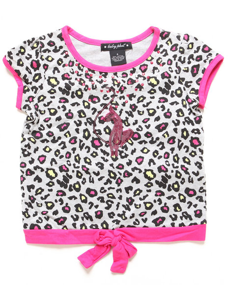 Baby Phat Girls Pink Animal Tie Front Top (4-6X)