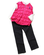 Sets - 3 PC PUFFER VEST SET (2T-4T)