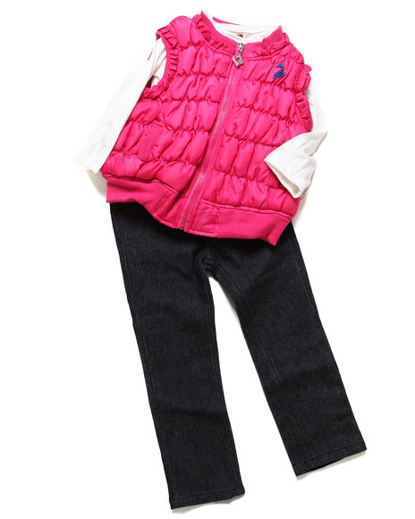 Baby Phat - Girls Pink 3 Pc Puffer Vest Set (2T-4T)