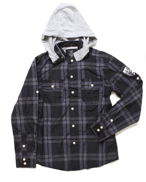 Arcade Styles Boys Black Plaid Woven W/ Hood (8-20)