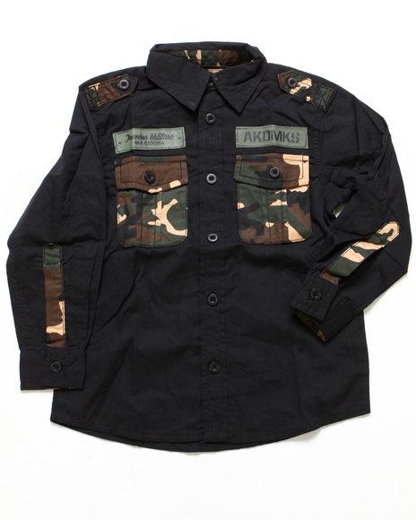 Akademiks Boys Black L/S Woven W/ Camo Pocket (4-7)