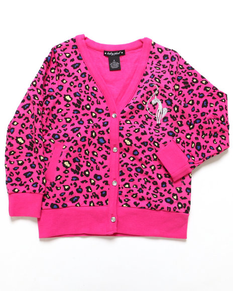 Baby Phat - Girls Animal Print,Pink Animal Print Cardigan (4-6X)