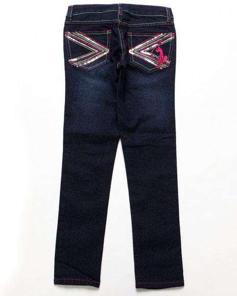 Baby Phat - Girls Dark Wash Colored Stitch Jeans (7-16)