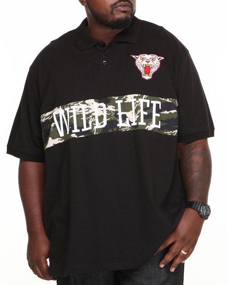 Ecko Black Wild Life Polo (Big & Tall)