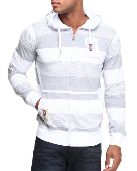 Akademiks - Men White Windsor Stripe Full Zip Hoodie W/ Felt Applique