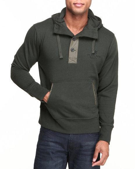 Syn Jeans - Men Green Button Pullover Hoodie