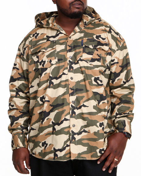 Ecko Camo Insignal Hooded Button-Down (Big & Tall)