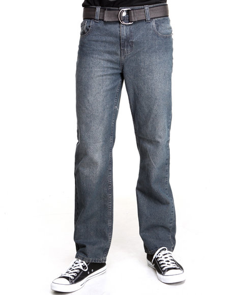 Basic Essentials - Men Medium Wash Belted Denim Jeans