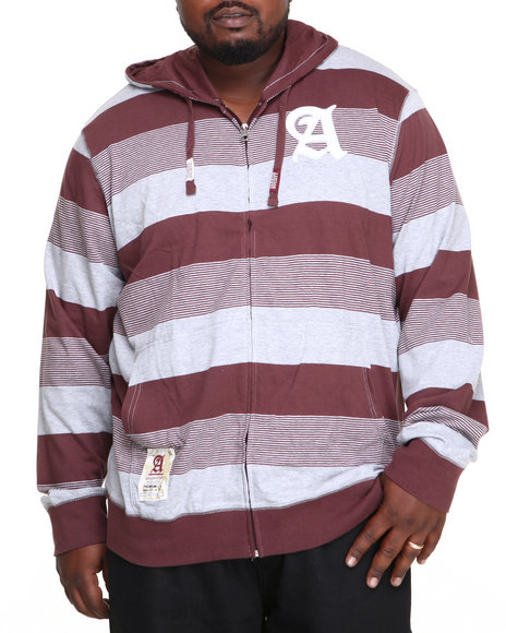 Akademiks - Men Maroon Windsor Stripe Full Zip Hoodie W/ Felt Applique (B & T)