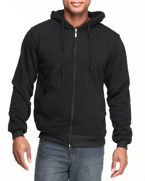 Basic Essentials Men Heavyweight Zip Hoodie Black Medium