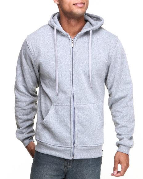 Basic Essentials - Men Grey Heavyweight Zip Hoodie