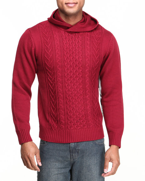Syn Jeans Red Hooded Cable Sweater