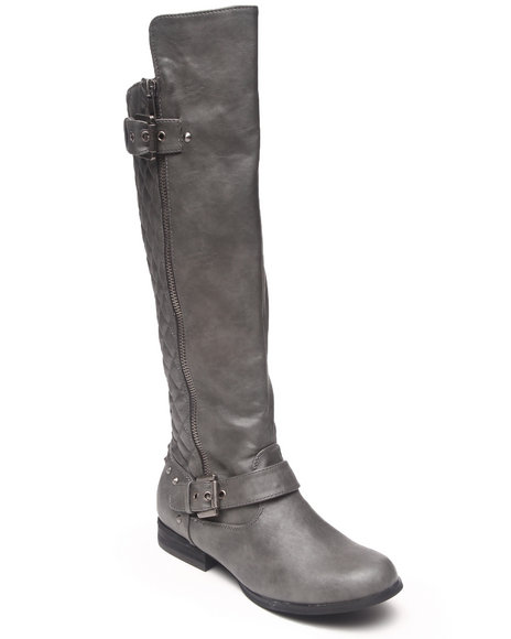 Not Rated Grey Uptown Quilted Back Side Zip Boot