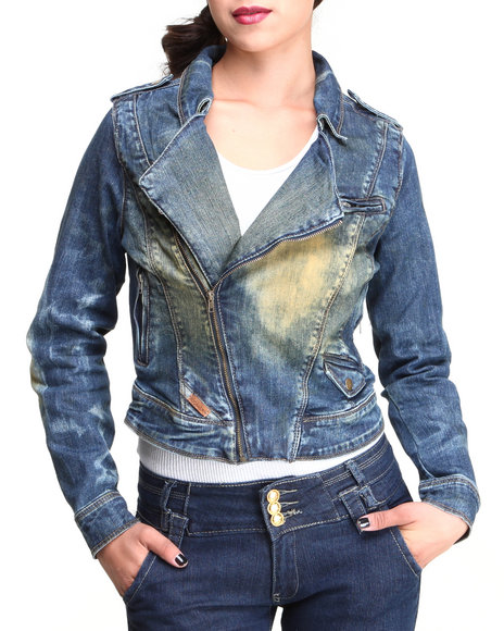 Rocawear Medium Wash Desert Moto Hot Denim Jacket
