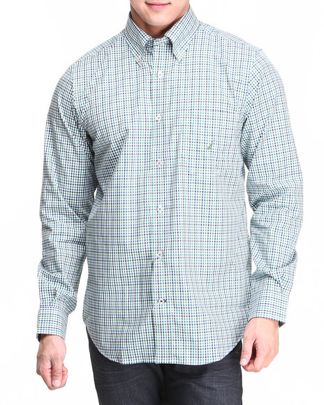 Nautica Green L/S Mini Check Button-Down