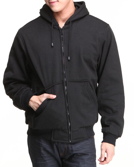 Basic Essentials Men Thermal Lined Hoodie Black XLarge