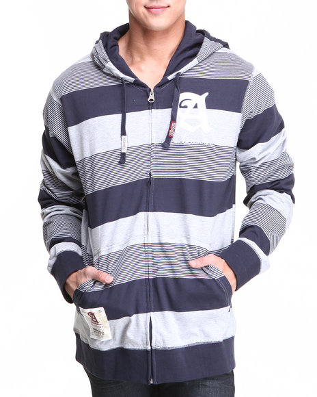 Akademiks - Men Navy Windsor Stripe Full Zip Hoodie W/ Felt Applique