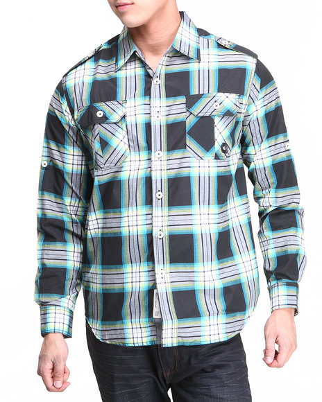 Akademiks Black Norris L/S Plaid Shirt